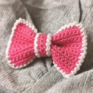 crochet pink bow brooch