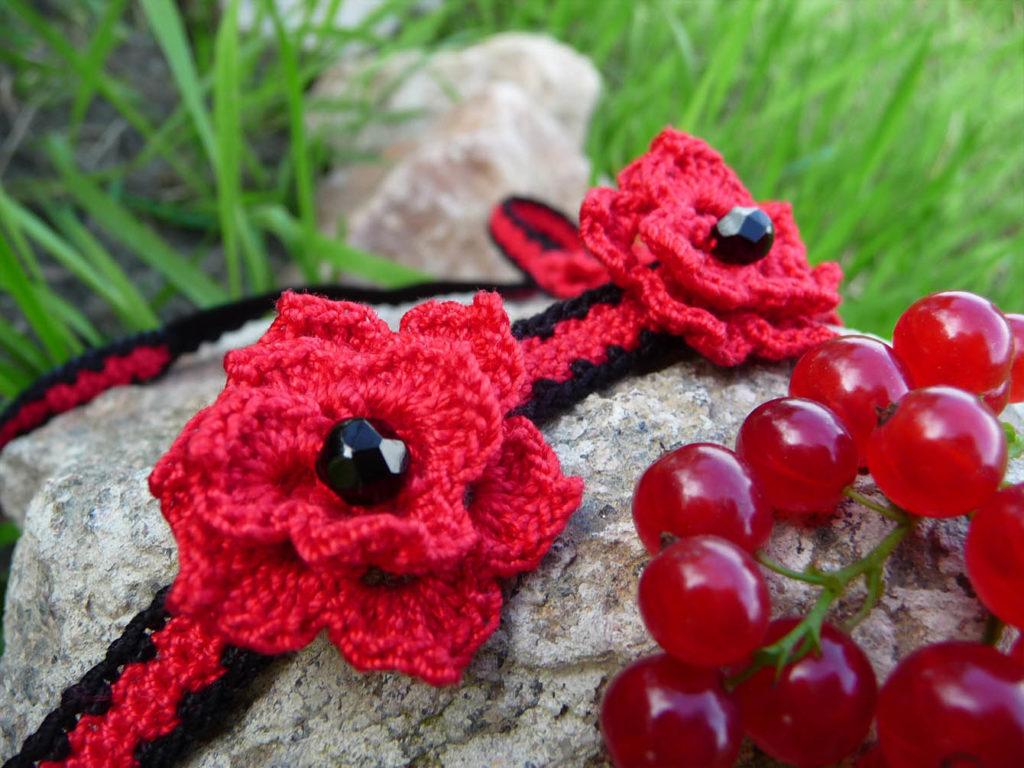 red crochet headband near red currants