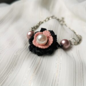 anklet with black crochet flower