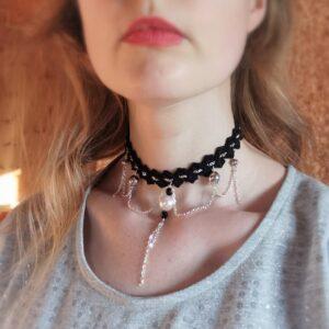 crochet black choker necklace