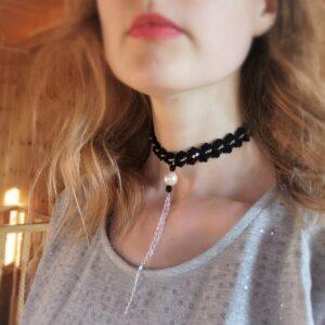 crochet black choker necklace with long pendant