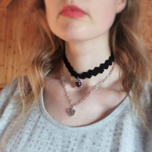 crochet double choker necklace