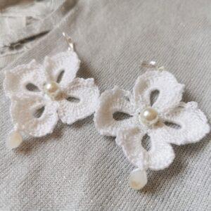 crochet white flower wedding earrings