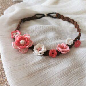 crochet headband with spring flowers
