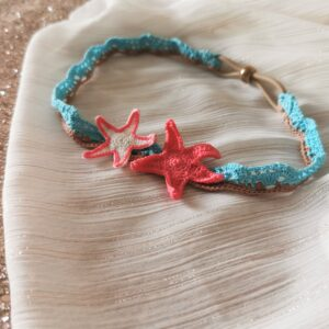 crochet headband with starfish