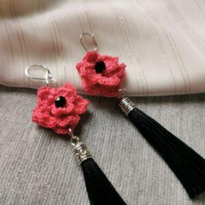 crochet pink flower earrings with tassels