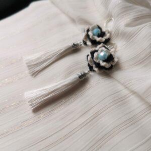 crochet white flower earrings with tassels for wedding