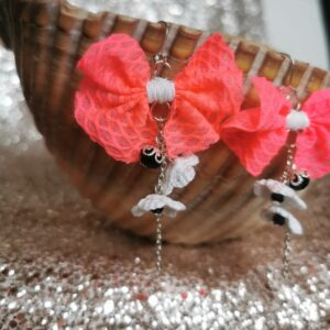 dangle earrings with pink fabric bow and white crochet flowers
