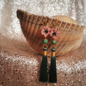 long statement earrings with crochet flowers and tassels