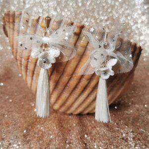 earrings with white tulle bow crochet flowers and tassels for wedding
