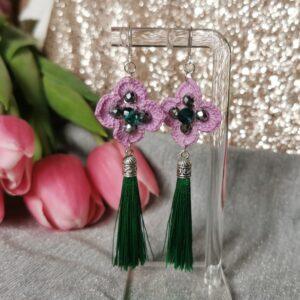 crochet purple flower earrings with green tassels