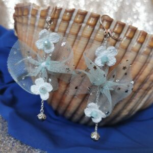 earrings with blue tulle bows and white crochet flowers