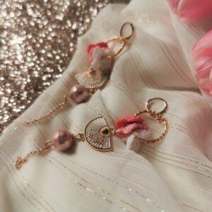 eastern spring flower earrings with hand fan