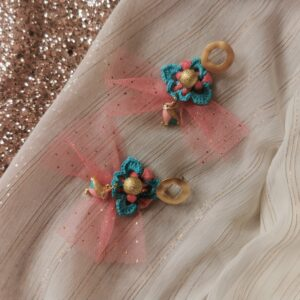 blue crochet flower earrings with pink tulle and bird pendant