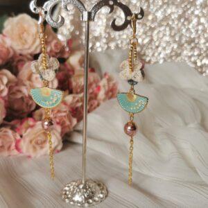 oriental crochet flower earrings with blue hand fans