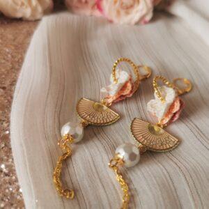 oriental crochet flower earrings with hand fans