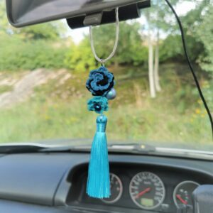 blue car mirror hanging accessory with crochet flowers and tassel