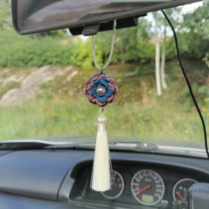 car mirror hanging accessory with blue crochet flower and beige tassel