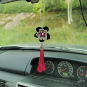 car pendant with black crochet flower and pink tassel