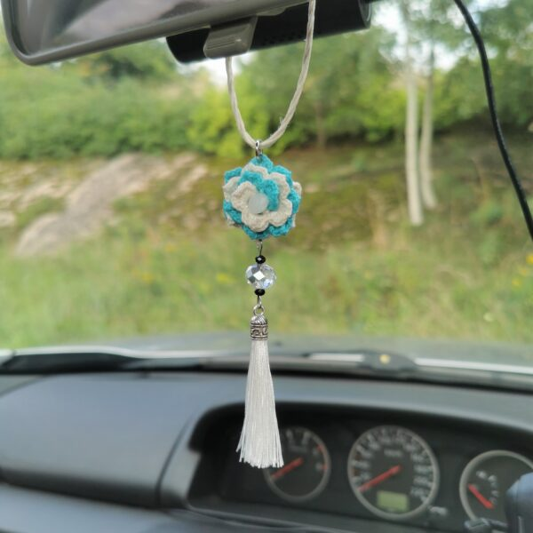 car pendant with crochet flower and white tassel