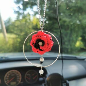 pink crochet flower car mirror hanging accessory with hoop