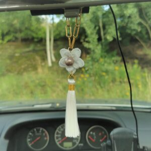 white car mirror hanging accessory with crochet flower and tassel